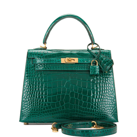 13edfc9990 Hermes Emerald Shiny Alligator Kelly 25cm Gold Hardware