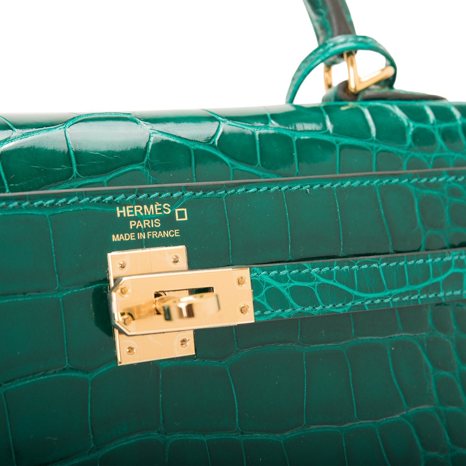 Hermes Emerald Shiny Alligator Kelly 25cm Gold Hardware