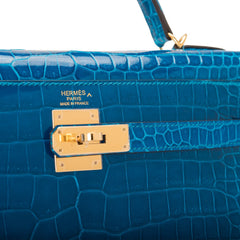 Hermes Blue Izmir Shiny Porosus Crocodile Sellier Kelly 32cm Gold Hardware