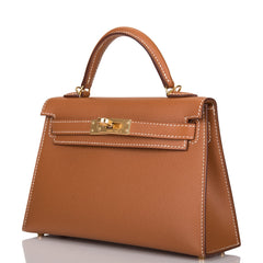 Hermes Gold Epsom Sellier Kelly 20cm Gold Hardware