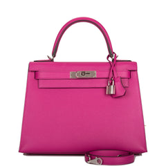 Hermes Rose Pourpre Epsom Sellier Kelly 28cm Palladium Hardware