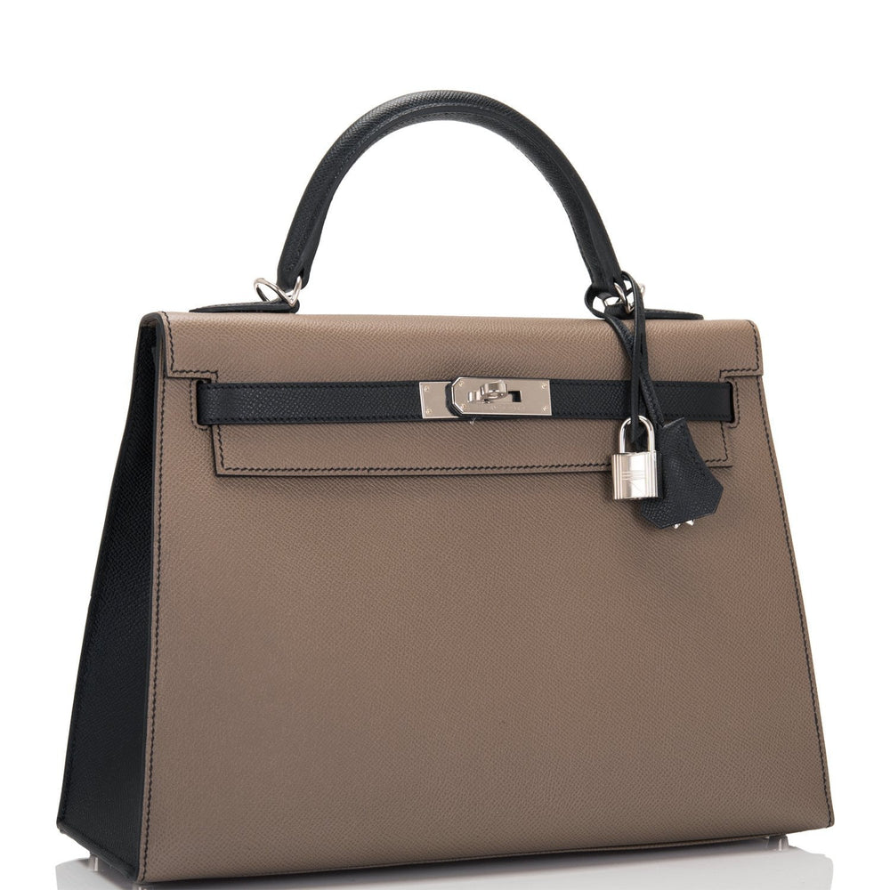 Hermes HSS Bi-Color Etoupe and Black Epsom Sellier Kelly 32cm Palladium Hardware