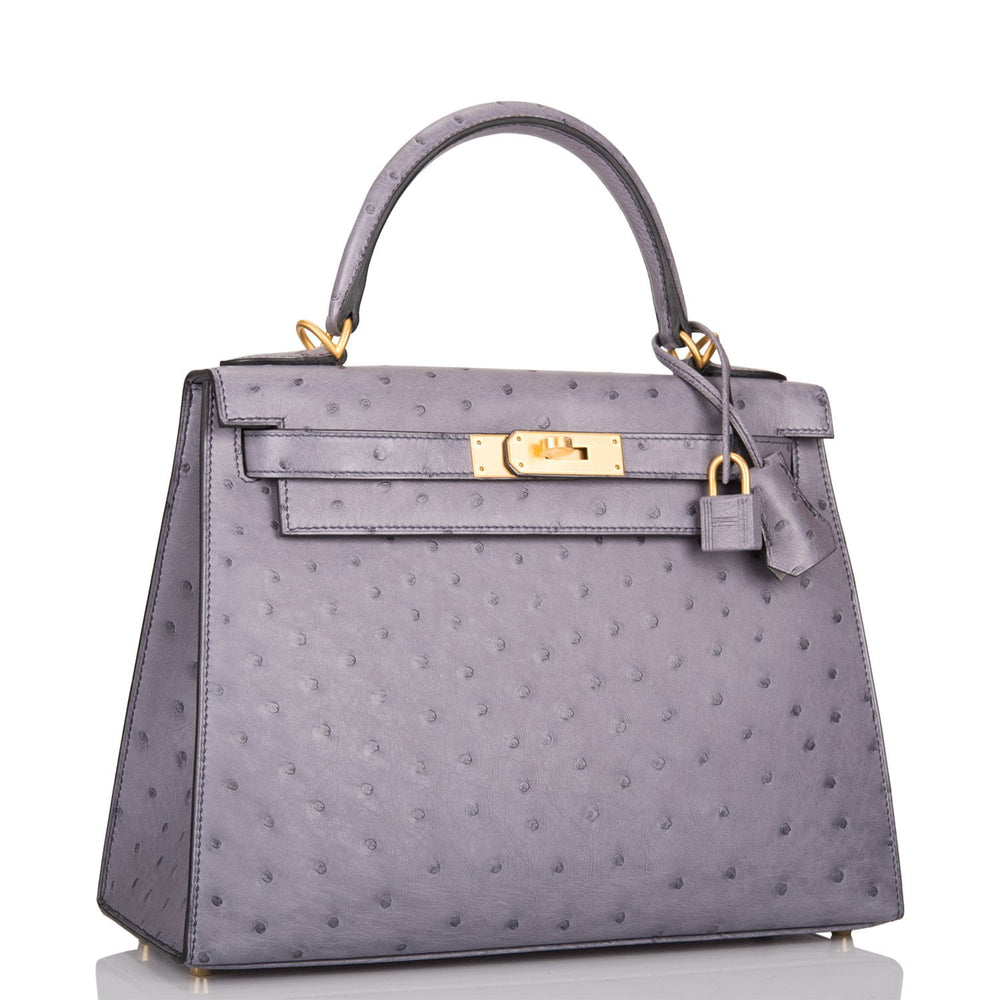 Hermes HSS Bi-Color Gris Agate and Gris Perle Ostrich Sellier Kelly 28cm Brushed Gold Hardware