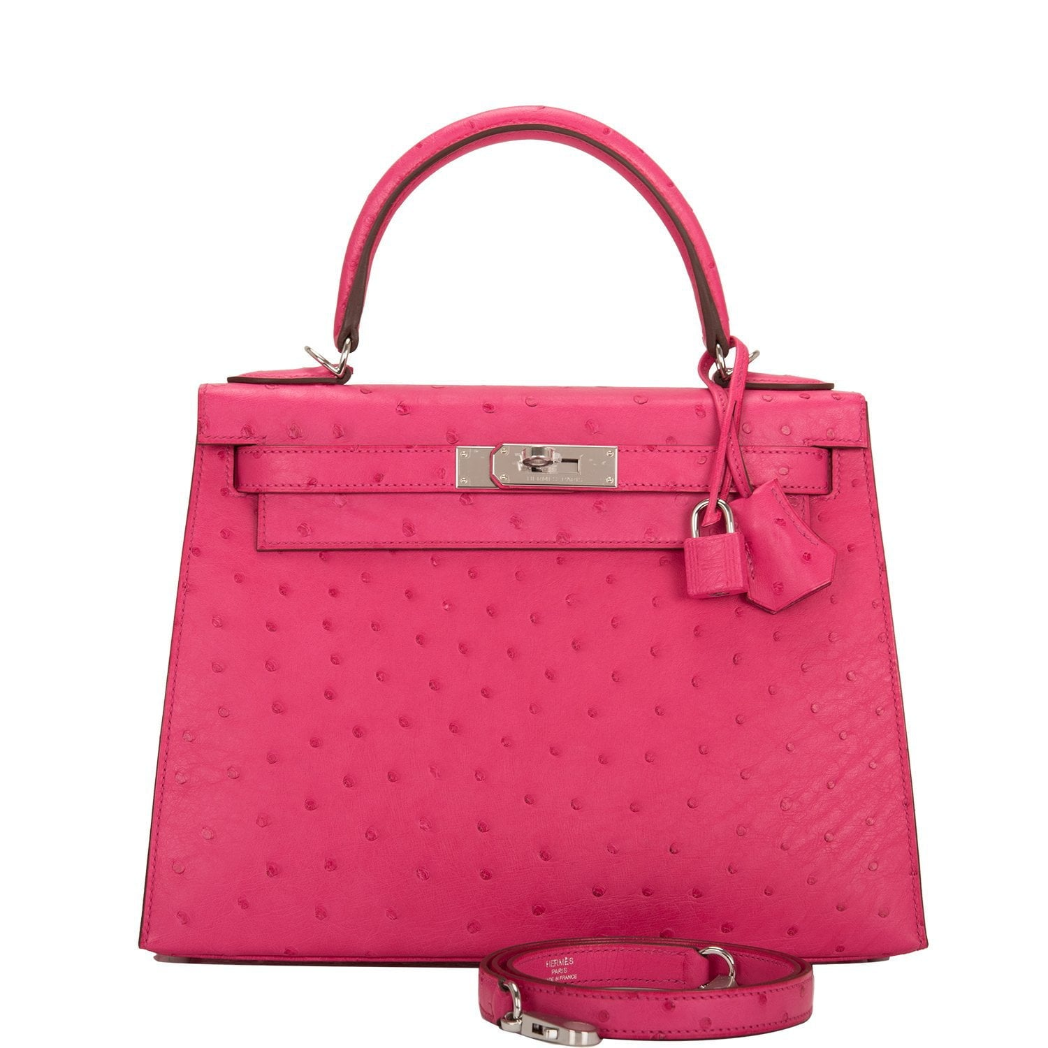 Hermes Rose Tyrien Ostrich Sellier Kelly 28cm Palladium Hardware