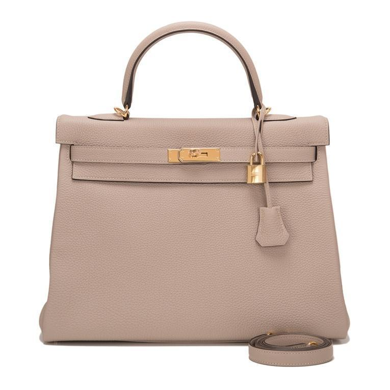 Hermes Gris Touretelle Togo Retourne Kelly 35cm Gold Hardware