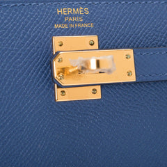 Hermes Blue Brighton Epsom Sellier Kelly 25cm Gold Hardware