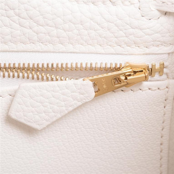Hermes White Clemence Kelly 28cm Gold Hardware