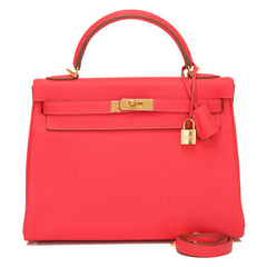 Hermes Rose Jaipur Clemence Kelly 32cm Gold Hardware