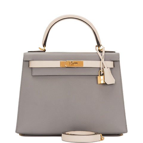Hermes HSS Bi-Color Gris Mouette and Craie Epsom Sellier Kelly 28cm Gold Hardware