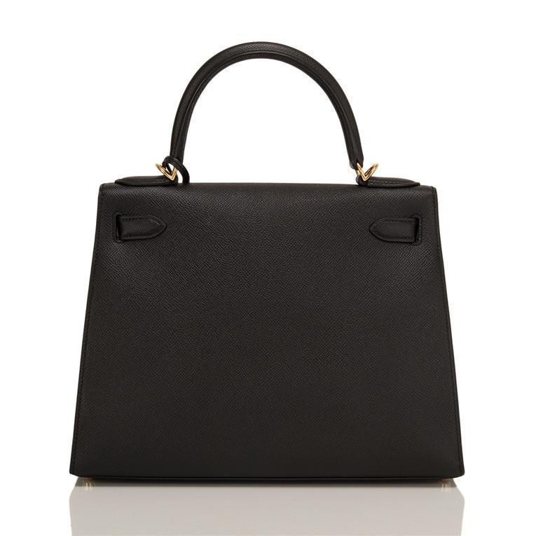 Hermes Black Epsom Sellier Kelly 28cm Gold Hardware