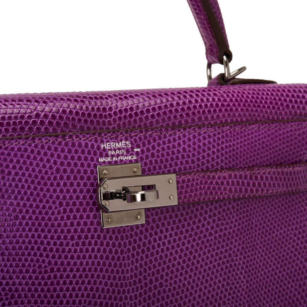 Hermes Violet Lizard Sellier Kelly 25cm Ruthenium Hardware (Preloved - Mint)