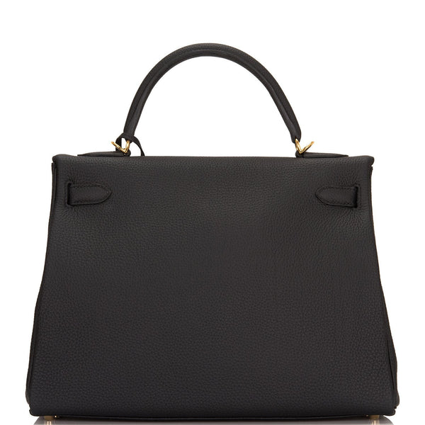 Hermes Black Togo Retourne Kelly 32cm Gold Hardware