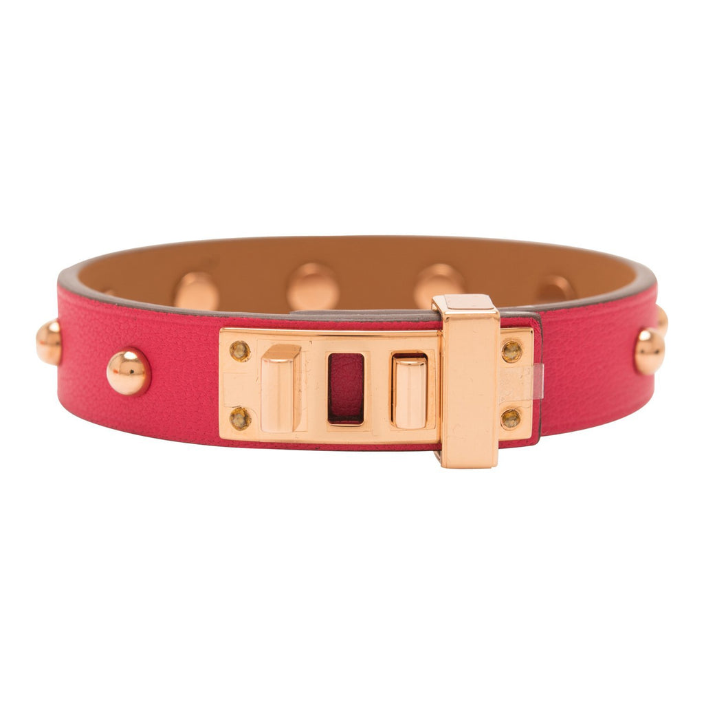 Hermes Rose Extreme Mini Dog Clous Ronds Bracelet Rose Gold Hardware Size T2 (Small)