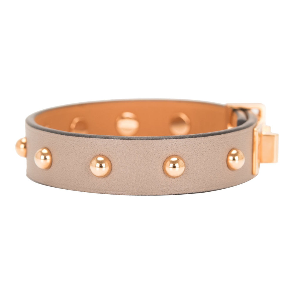 Hermes Gris Asphalte Mini Dog Clous Ronds Bracelet Rose Gold Hardware T2 (Small)