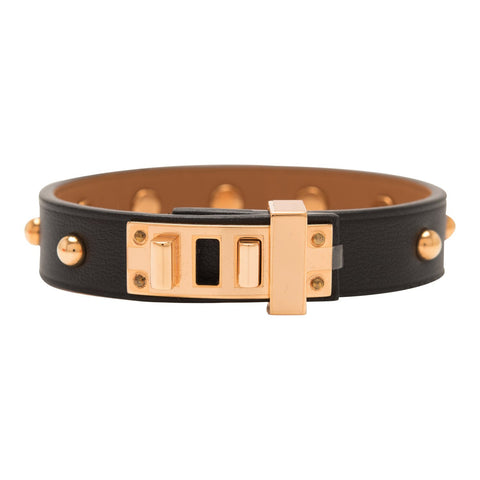 805364ee4d Hermes Black Mini Dog Clous Ronds Bracelet Rose Gold Hardware Size T2
