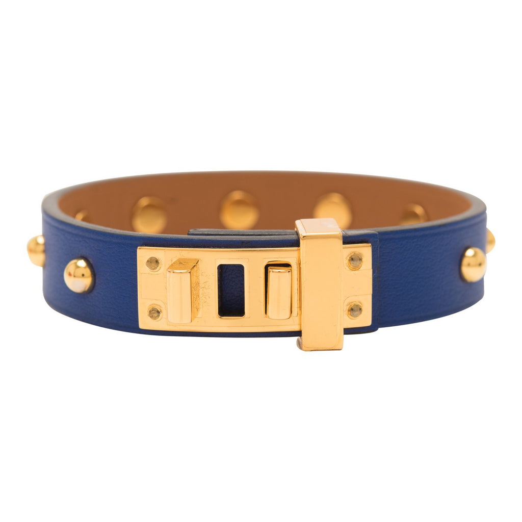 Hermes Bleu Brighton Mini Dog Clous Ronds Bracelet Gold Hardware T2 Small