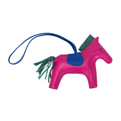 Hermes Rose Pourpre/Malachite/Blue Electric Grigri Horse Rodeo Bag Charm MM