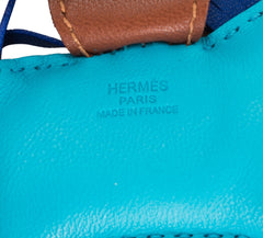Hermes Blue Aztec/Blue Electric/Fauve Grigri Horse Rodeo Bag Charm PM