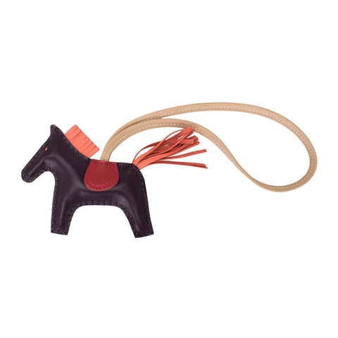 Hermes Raisin/Flamingo/Rouge Vif Grigri Horse Rodeo Bag Charm PM