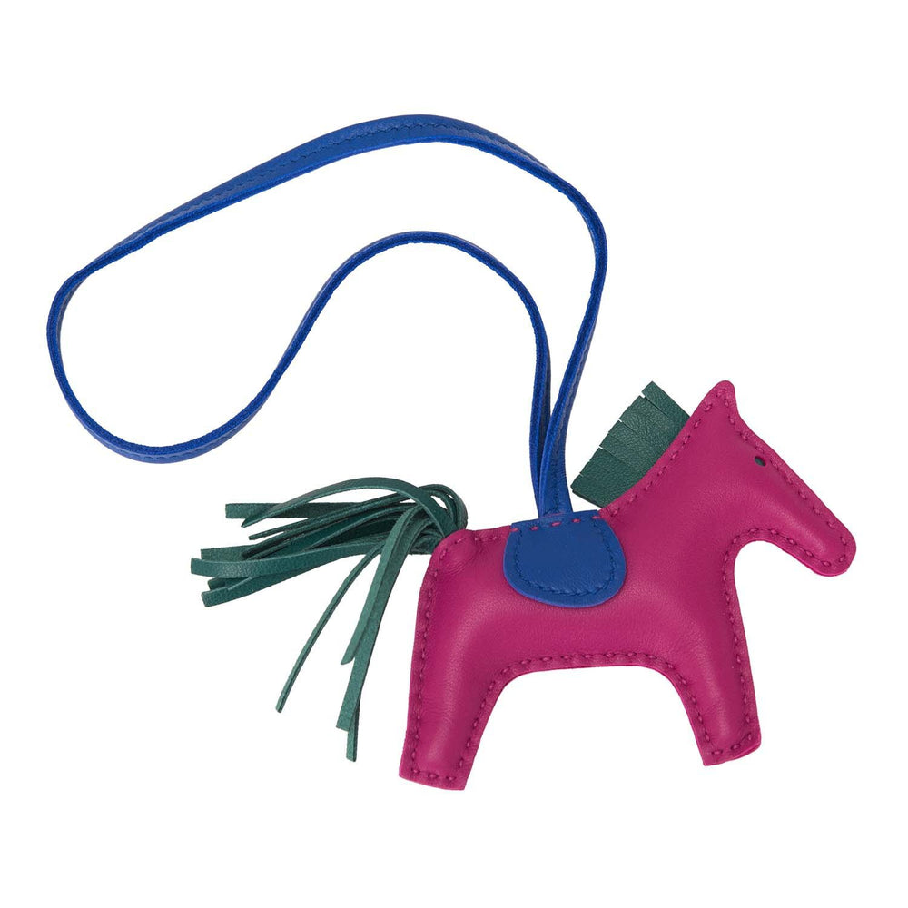 Hermes Rose Pourpre/Malachite/Bleu Electric Horse Rodeo Bag Charm PM