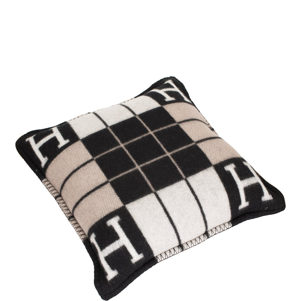"Hermes ""Avalon III"" Ecru and Black Pillow, Small Size Set of Two"