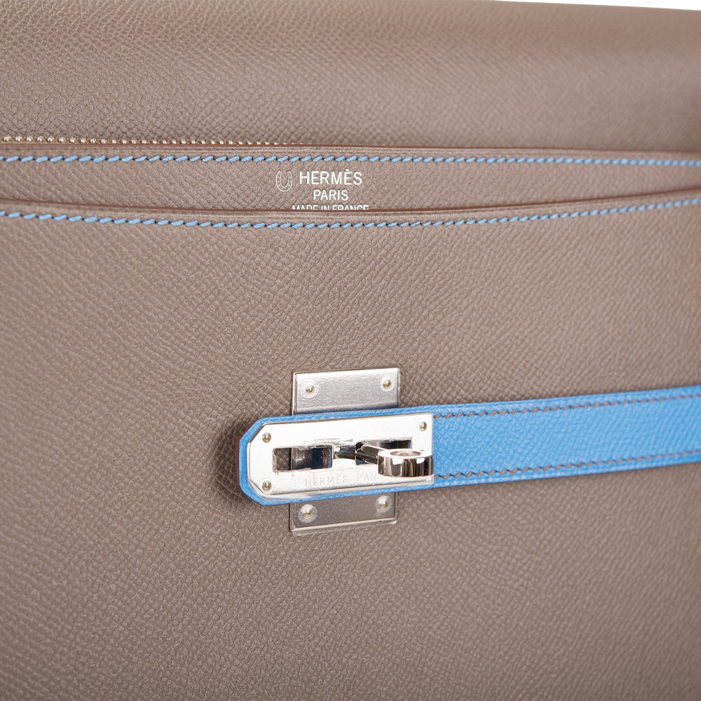 Hermes HSS Bi-Color Etain and Blue Paradise Epsom Kelly Sac a Depeches Briefcase 38cm Palladium Hardware