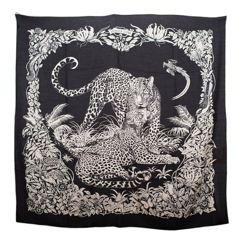 "Hermes ""Jungle Love Tattoo"" Cashmere and Silk Shawl Scarf 140cm"