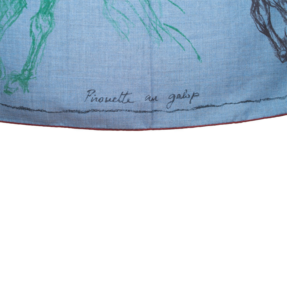 "Hermes ""Pirouette au Galop"" Cashmere and Silk Shawl Scarf 140cm"