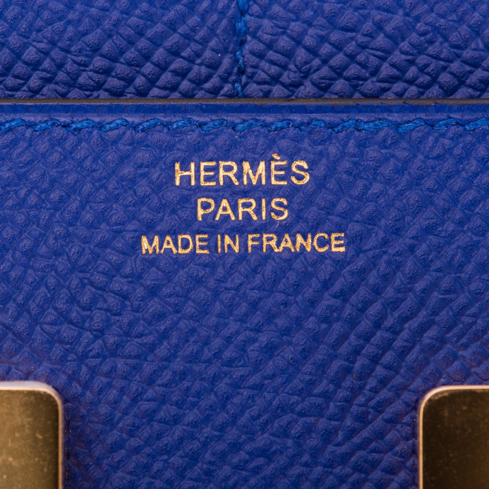 Hermes Bleu Electric Epsom Constance Compact Wallet