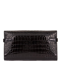 Hermes Bi-color Black and Bleu de Malte Alligator Ghillies Kelly Long Wallet