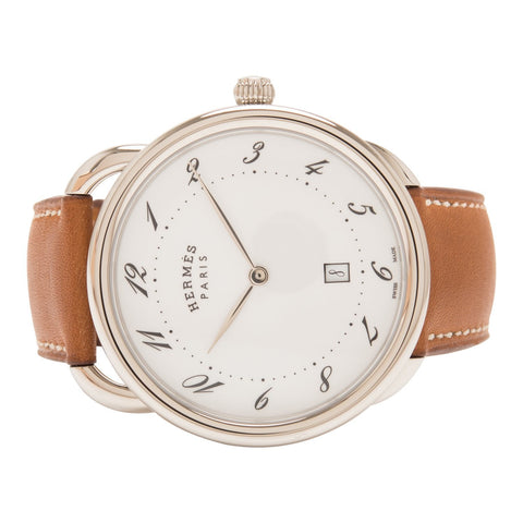 Hermes Natural Barenia Calfskin Arceau Watch 40mm