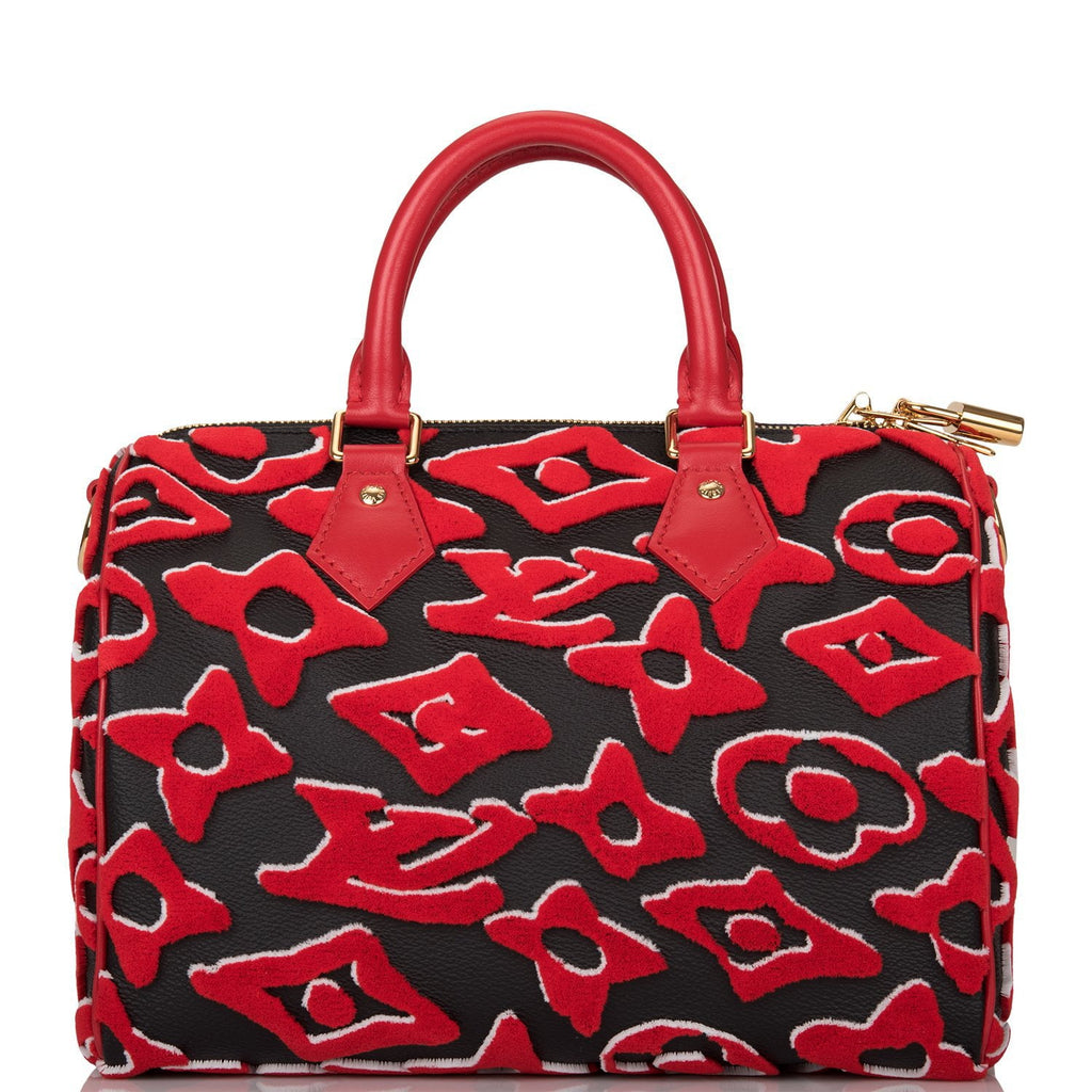 Louis Vuitton x UF Black and Red Tufted Monogram Speedy Bandouliere 25