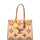 Louis Vuitton Tan Raffia Giant Monogram OnTheGo MM