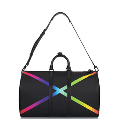 Louis Vuitton x Virgil Abloh Black Taiga Rainbow Keepall Bandouliere 50