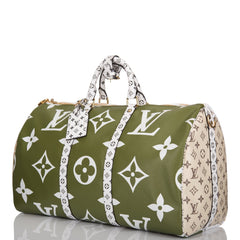 Louis Vuitton Giant Khaki Green Monogram Keepall Bandoulière 50