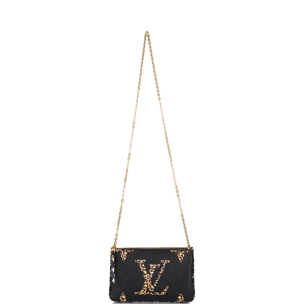 Louis Vuitton Black Giant Monogram Jungle Pochette Double Zip