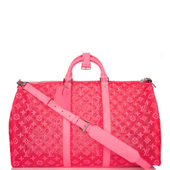 Louis Vuitton Hot Pink Mesh Monogram Keepall Bandoulière 50