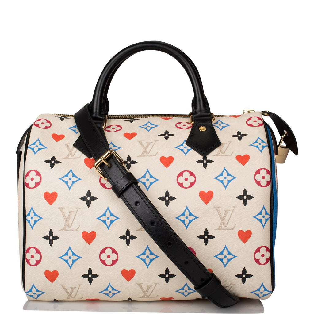 Louis Vuitton White Game On Speedy Bandouliere 25
