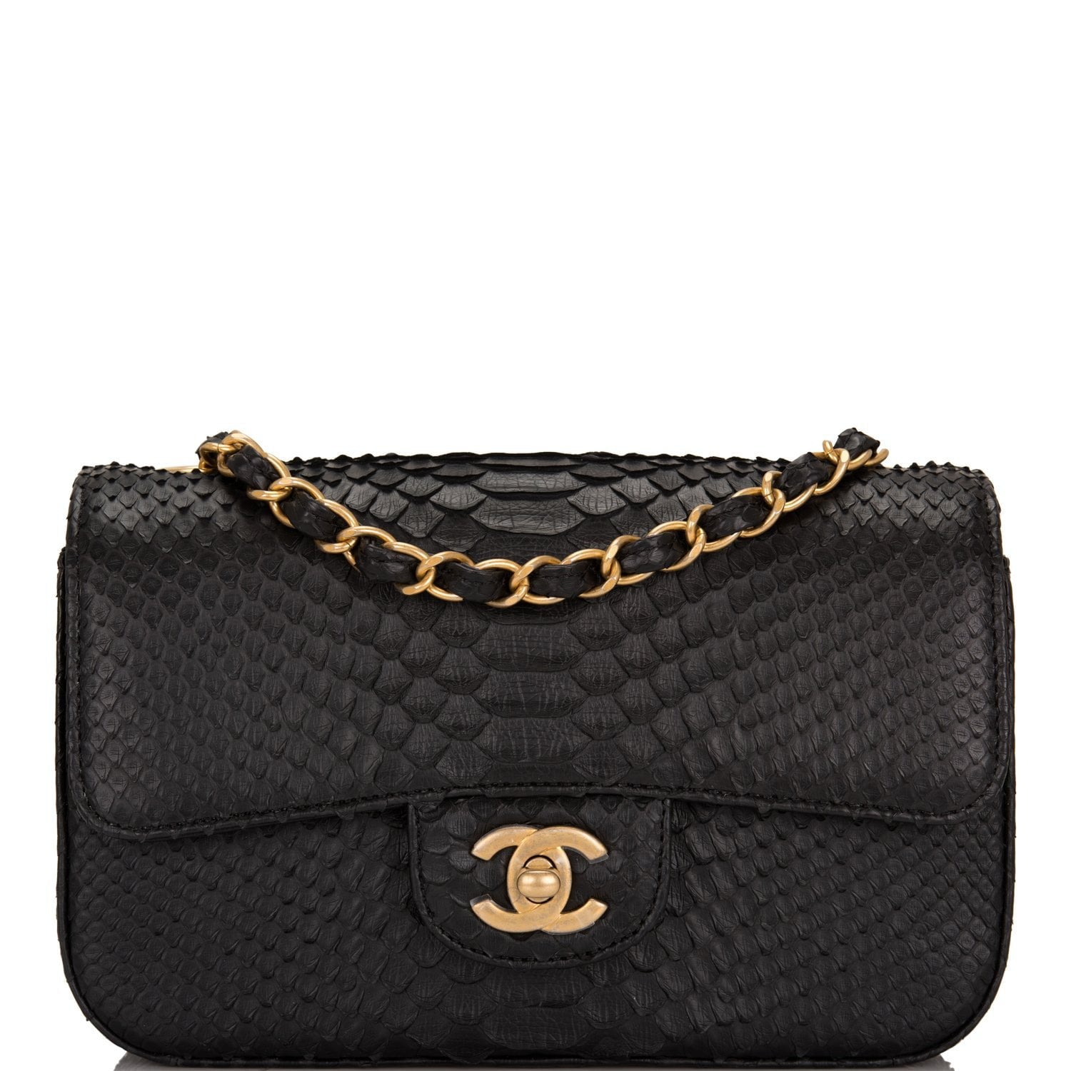 Chanel Black Python Rectangular Mini Classic Flap Bag