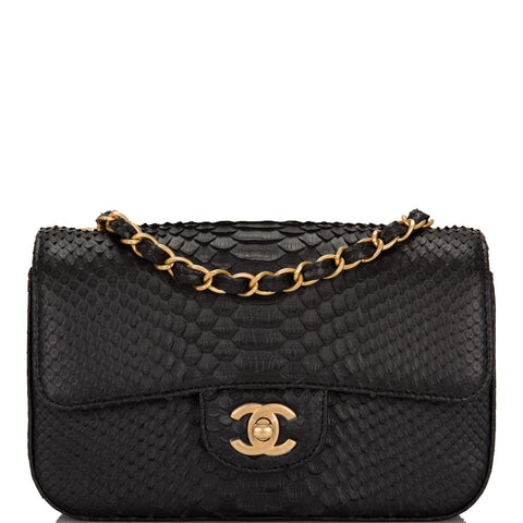 Chanel Black Python Rectangular Mini Classic Flap Bag 1ef85a2389376