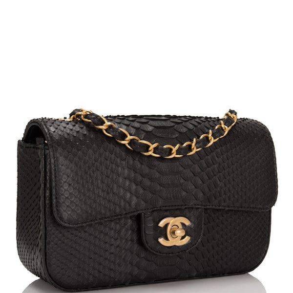 23934dbf21fa3e Chanel Black Python Rectangular Mini Classic Flap Bag – Madison ...