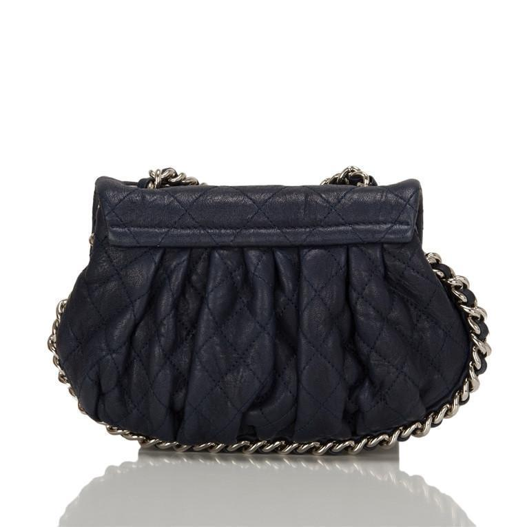 Chanel Navy Aged Lambskin Chain Around Mini Crossbody Messenger Bag