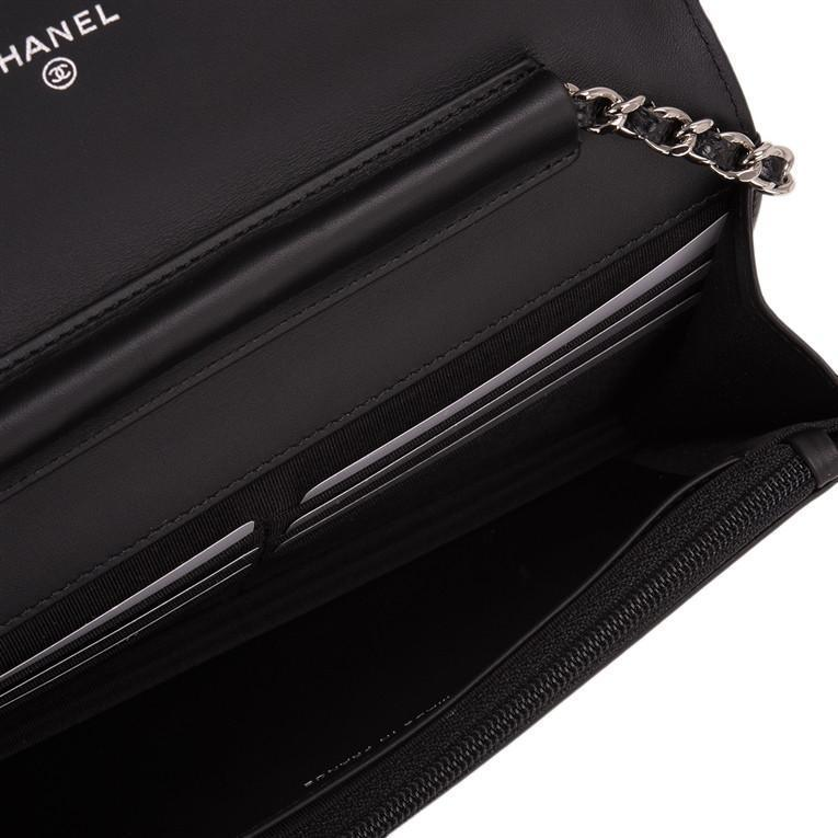 Chanel Black Caviar CC Wallet On Chain (WOC)