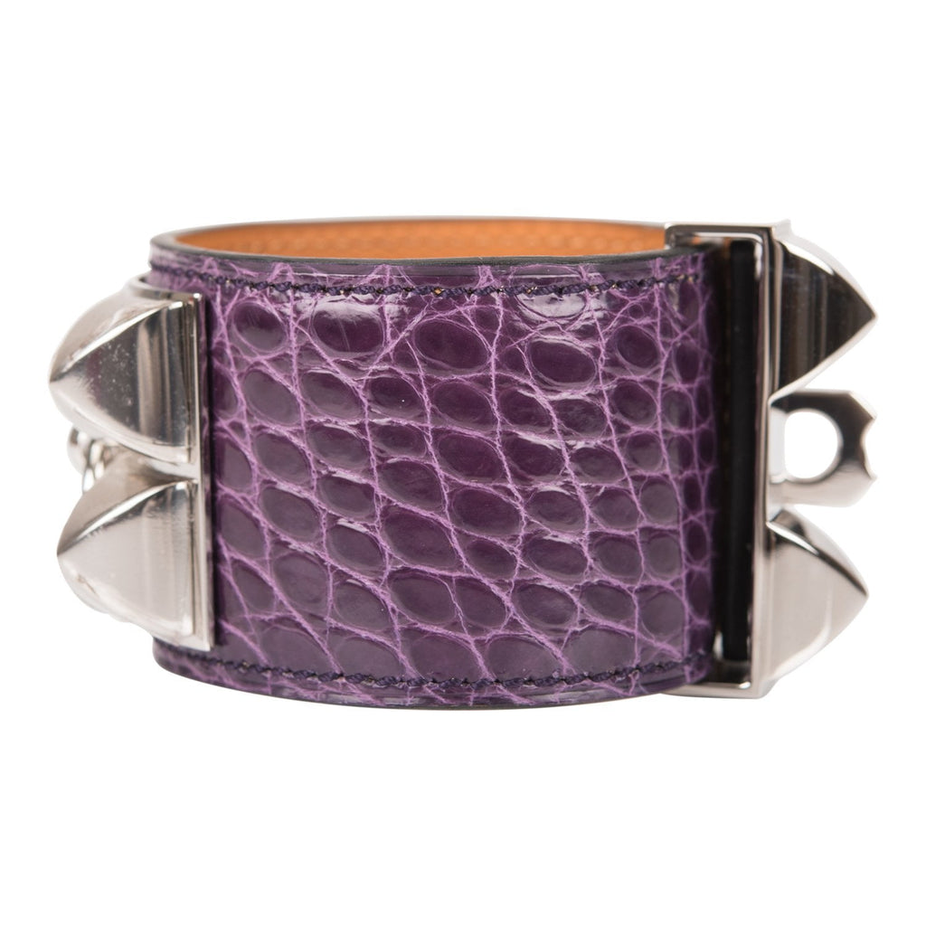 Hermes Amethyst Alligator Collier De Chien (CDC) Bracelet Small
