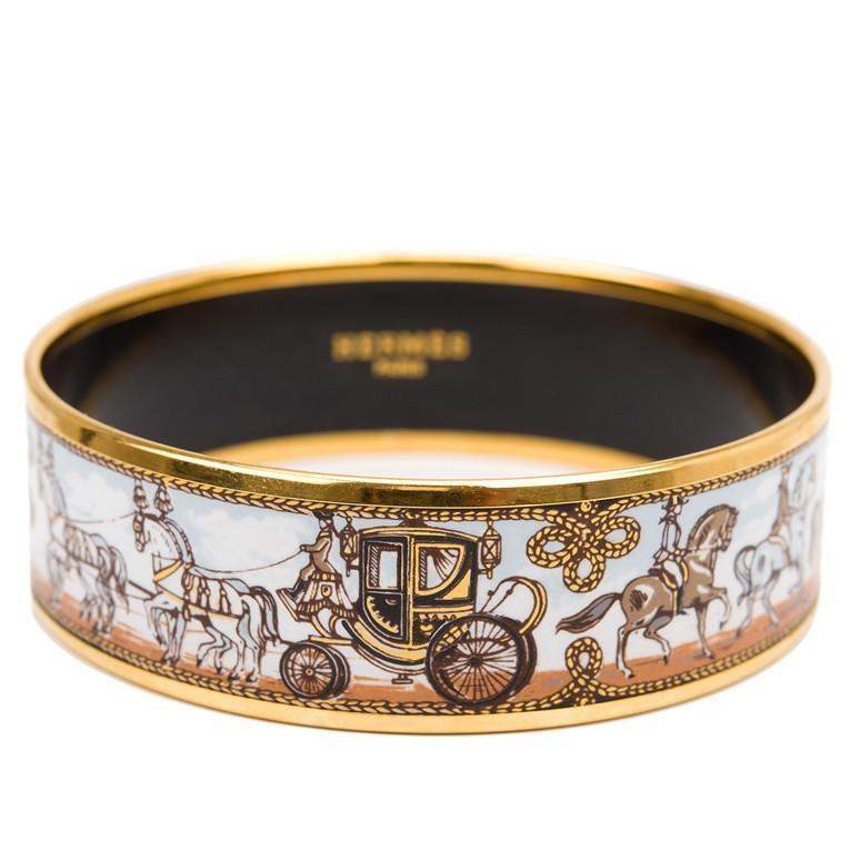 "Hermes ""Horse and Carriage"" Printed Enamel Wide Bracelet PM (65)"