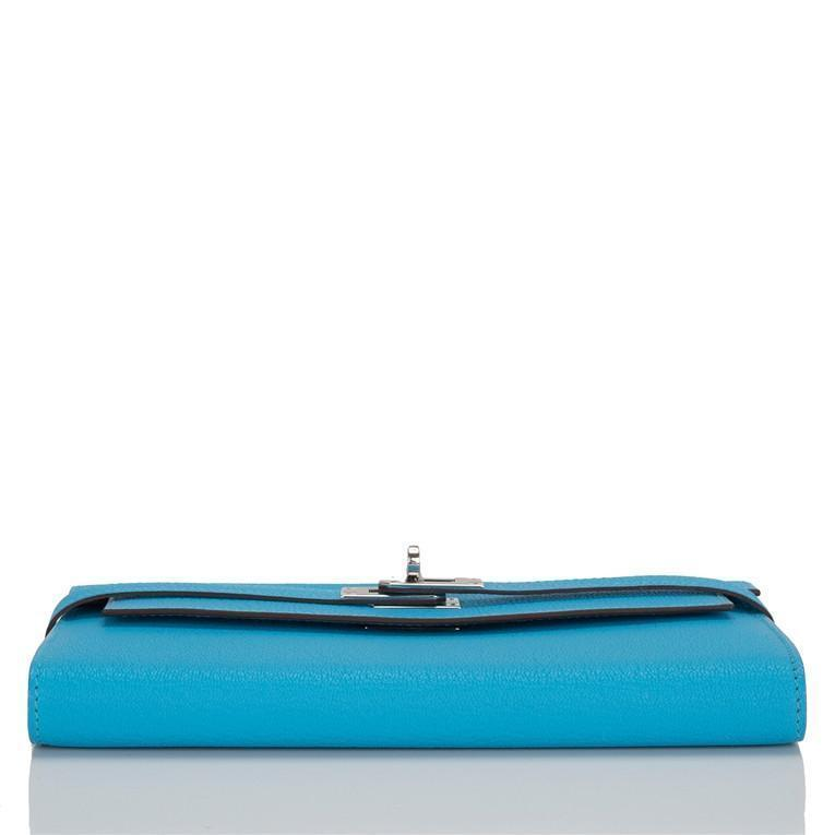 Hermes Blue Aztec Chevre Leather Kelly Longue Wallet