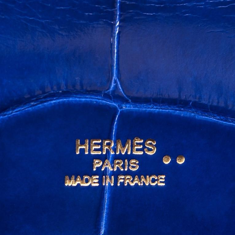 Hermes Blue Electric Shiny Niloticus Crocodile Kelly Cut Gold Hardware