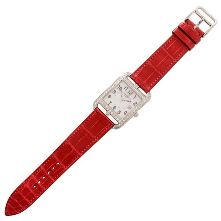 Hermes Braise Diamond Alligator Lisse Cape Cod Watch GM