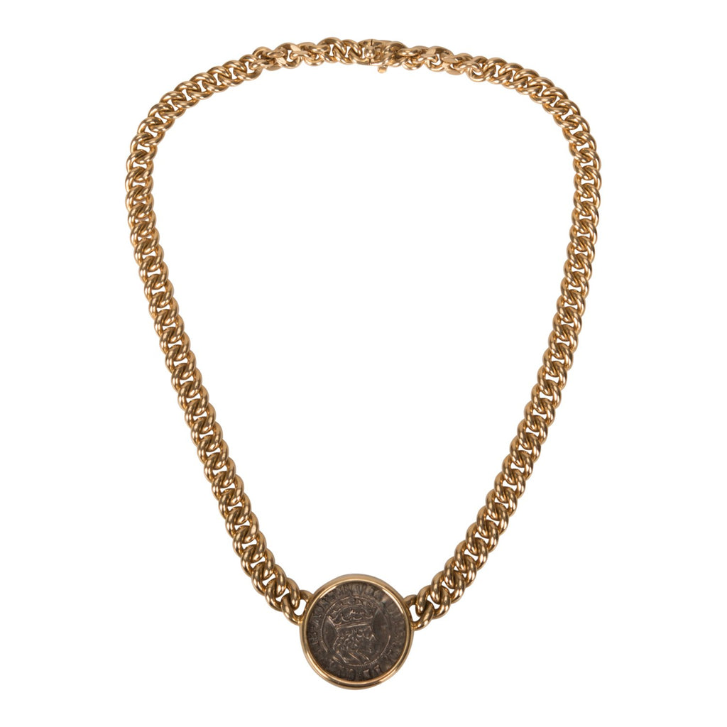 BVLGARI Monete Henry VII Antique Coin 18K Gold Necklace (Preloved - Excellent to Mint)