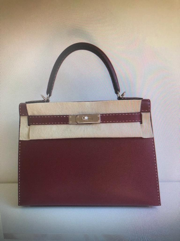 Hermes Rouge H Un Point Graine Monsieur Sellier Kelly 28cm Palladium Hardware